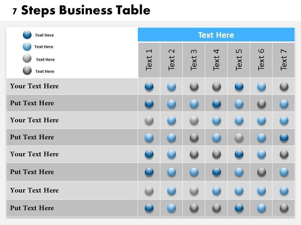 0314 business ppt diagram 7 steps business table for Table design google slides