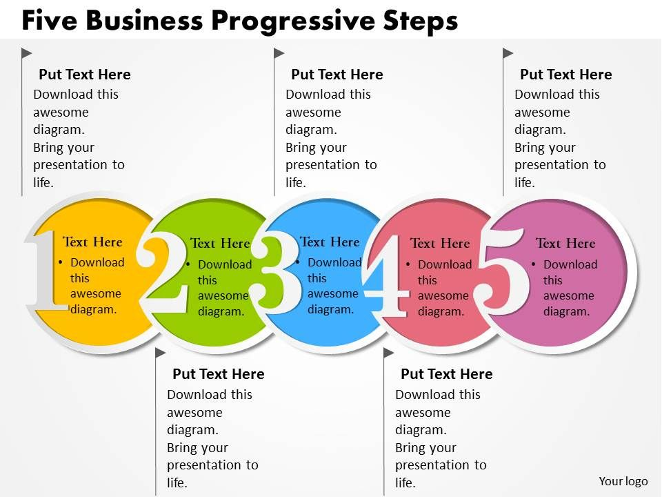 0314 business ppt diagram five business progressive steps powerpoint