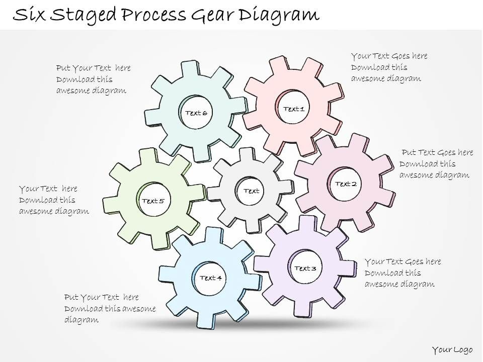 0314 Business Ppt Diagram Six Staged Process Gear Diagram Powerpoint ...
