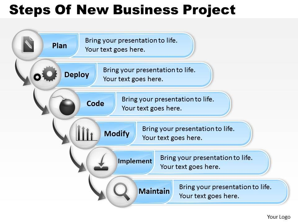 0314 Business Ppt Diagram Steps Of New Business Project Powerpoint