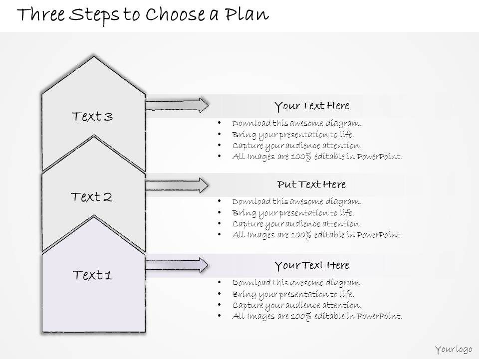 0314 business ppt diagram three steps to create a plan