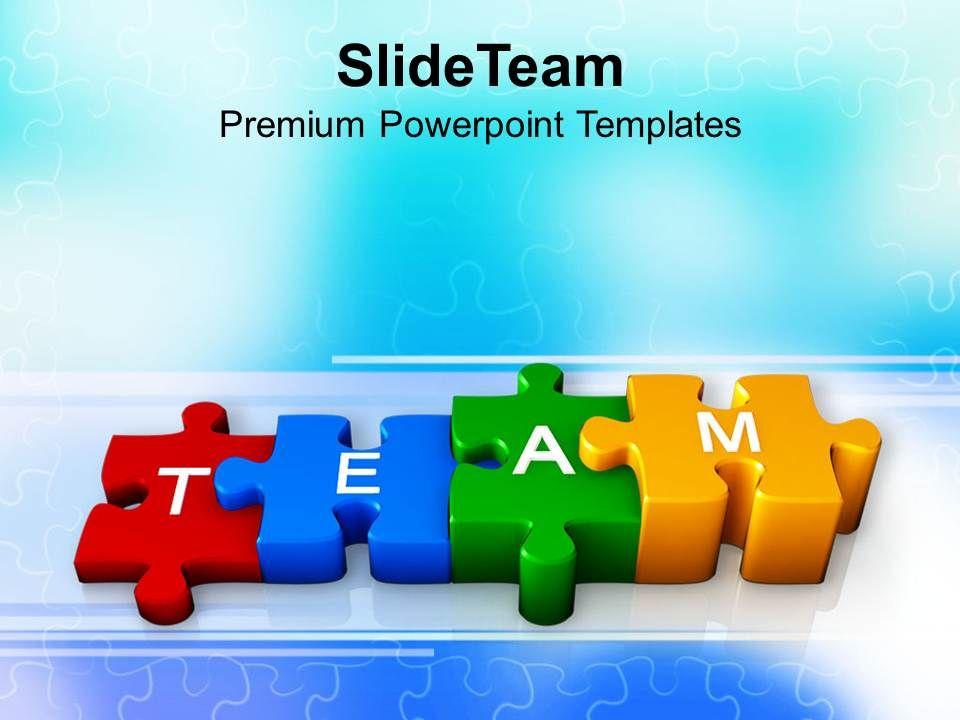 Team pushing colorful puzzles teamwork powerpoint templates ppt 0413 teamwork business strategies toneelgroepblik Choice Image