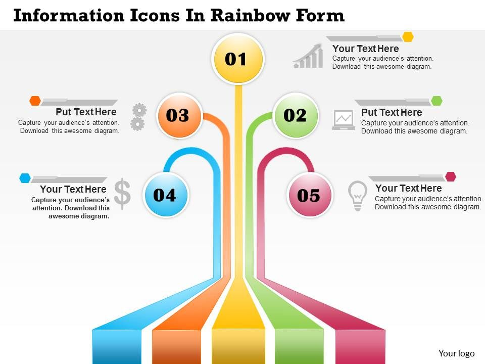 0414 Business Consulting Diagram Information Icons In Rainbow Form Point Slide Template Slide01