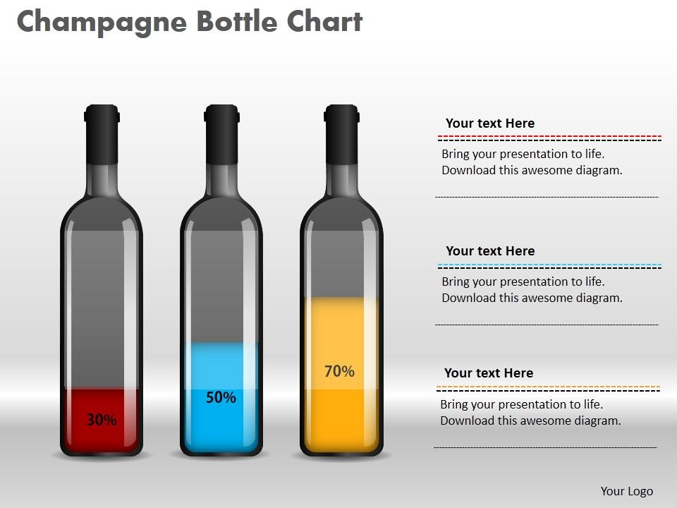 0414 Champagne Bottle Percentage Column Chart Powerpoint Graph ...