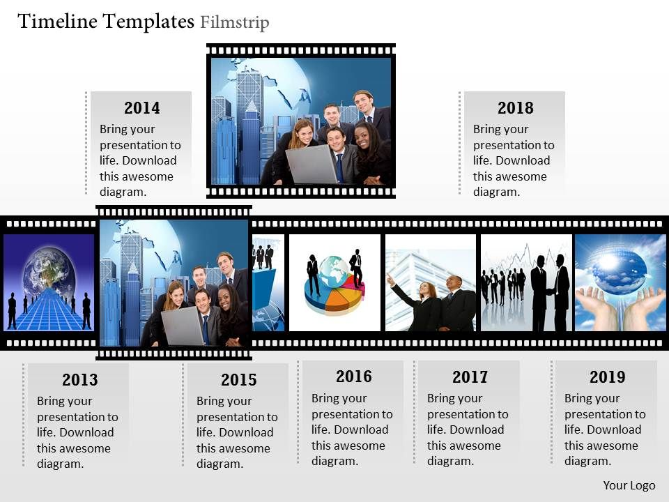 Timeline Template Filmstrip Powerpoint Presentation  Ppt