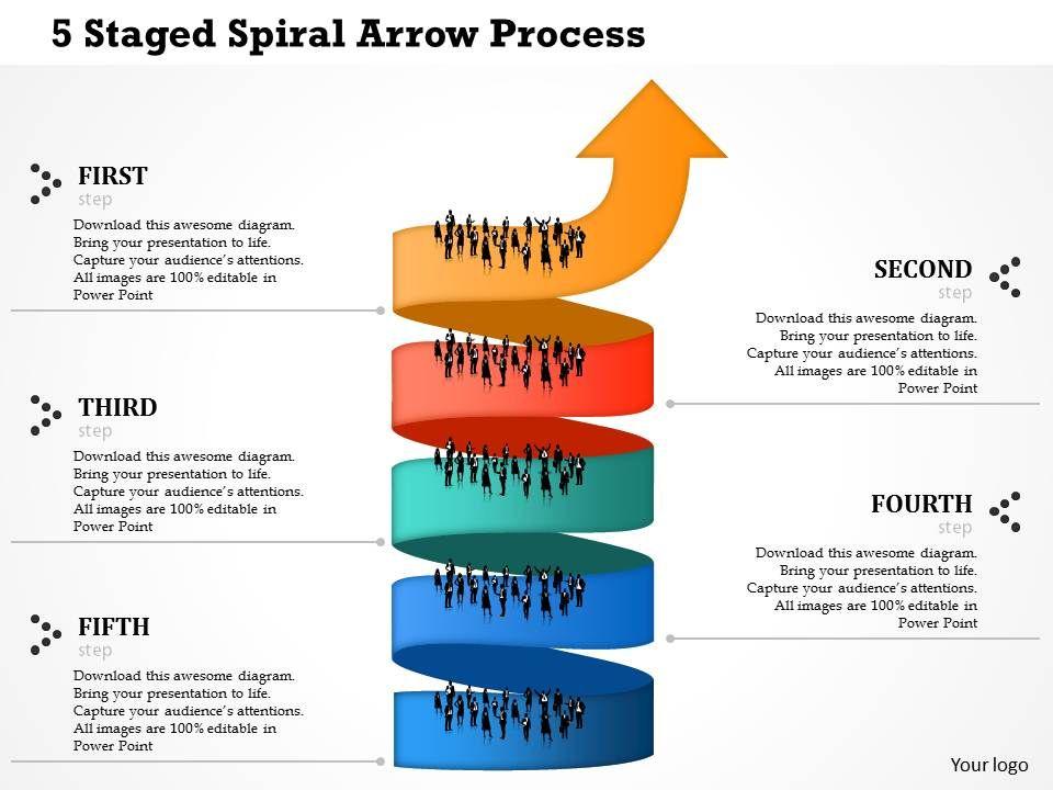 0514 5 staged spiral arrow process powerpoint presentation