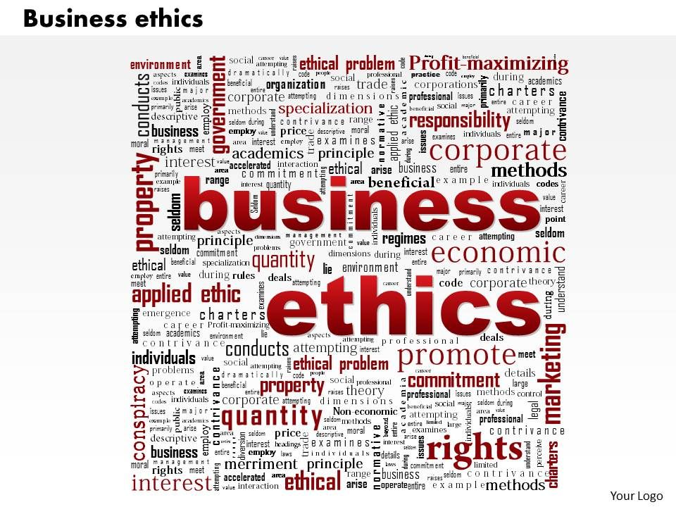 0514 business ethics word cloud powerpoint slide template, Powerpoint templates