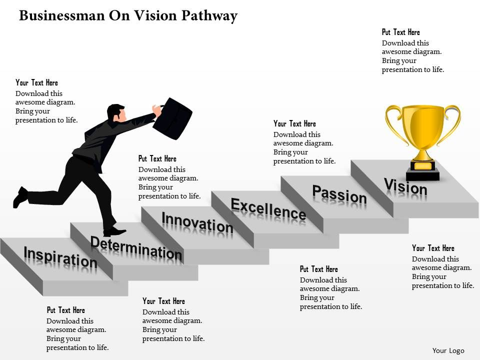 0514 Businessman On Vision Pathway | PowerPoint