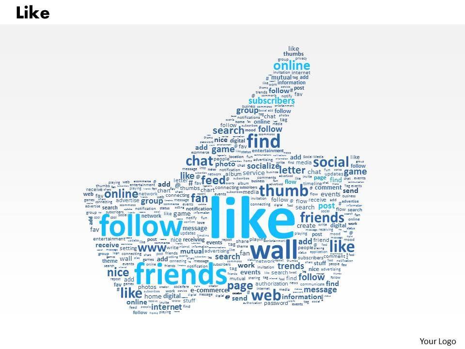 0514 facebook like word cloud powerpoint slide template. Black Bedroom Furniture Sets. Home Design Ideas