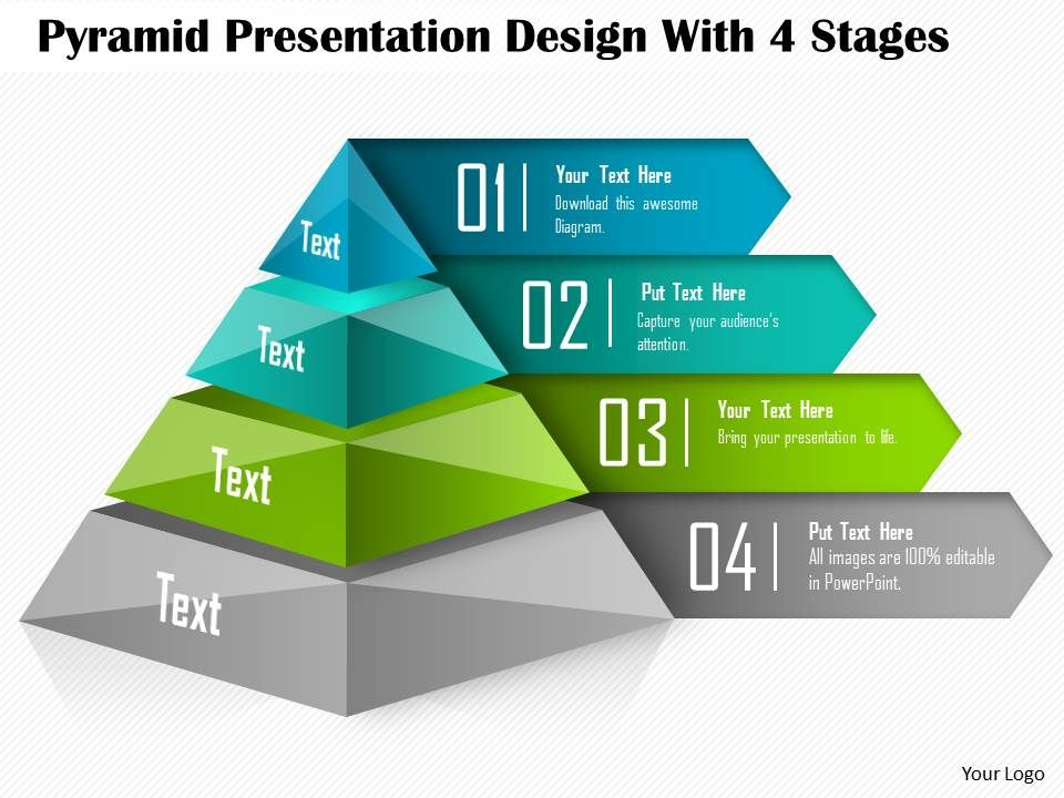 0514 pyramid presentation design with 4 stages powerpoint