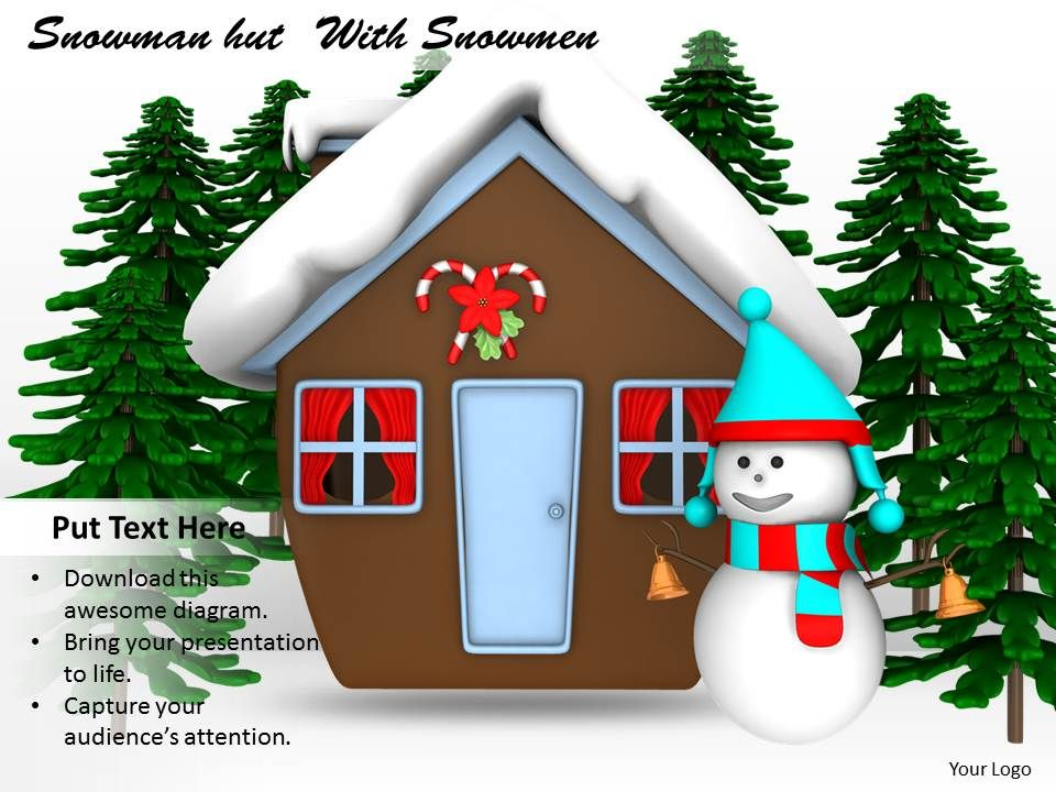 0514_winter_view_of_snowman_and_hut_image_graphics_for_powerpoint_Slide01