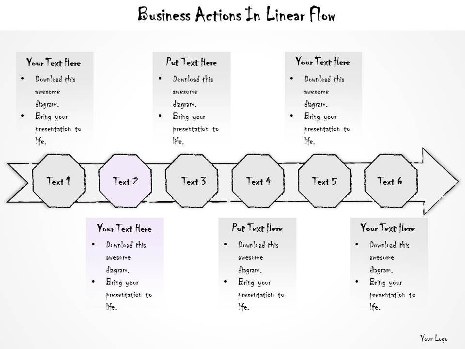 0614 Business Ppt Diagram Business Actions In Linear Flow