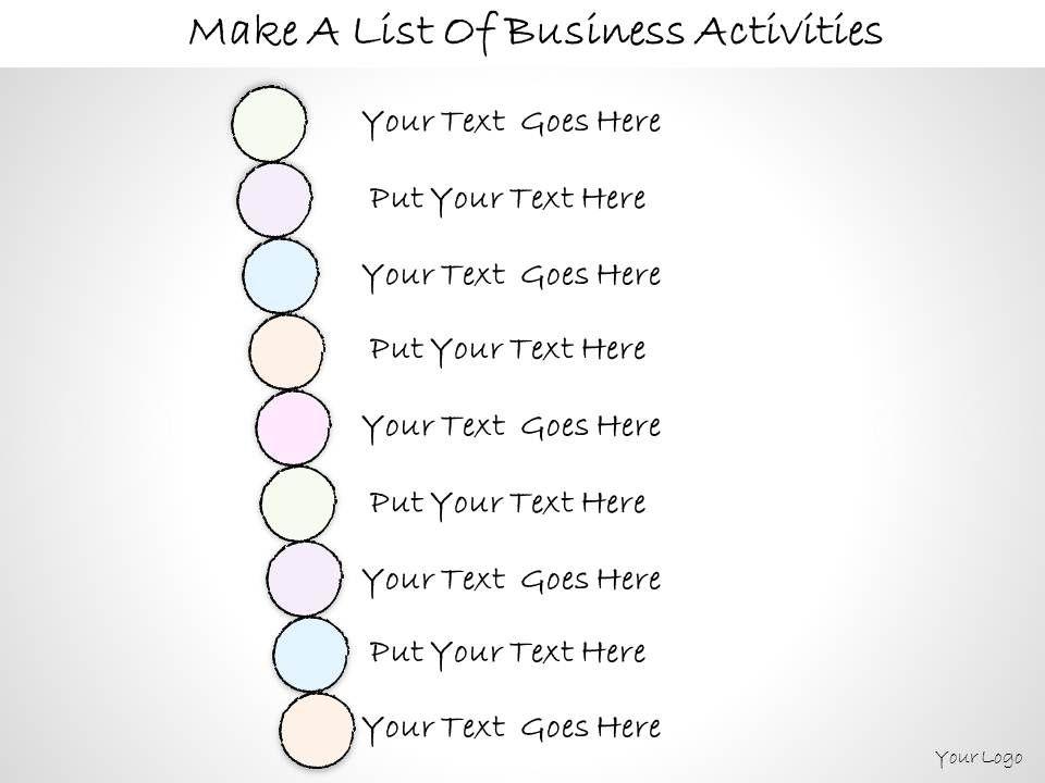 0614_business_ppt_diagram_make_a_list_of_business_activities_powerpoint_template_Slide01