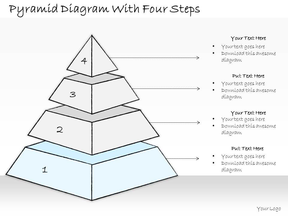 0614 Business Ppt Diagram Pyramid Diagram With Four Steps