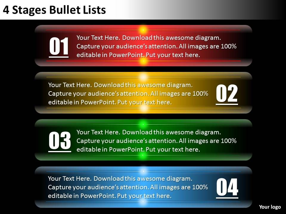 0620 change management consulting 4 stages bullet lists powerpoint, Modern powerpoint