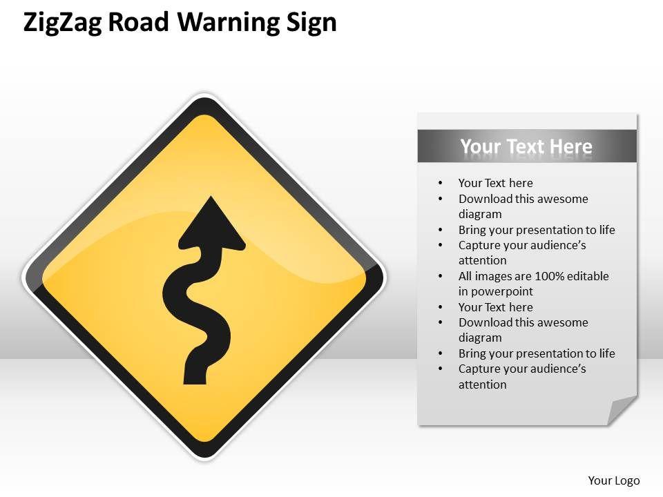 0620 marketing plan zig zag road warning sign powerpoint templates