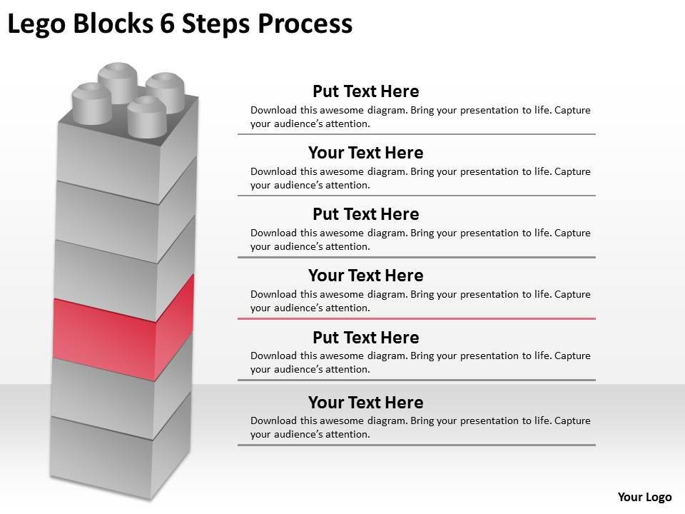 0620 timeline chart lego blocks 6 steps process powerpoint for Steps in building a house timeline