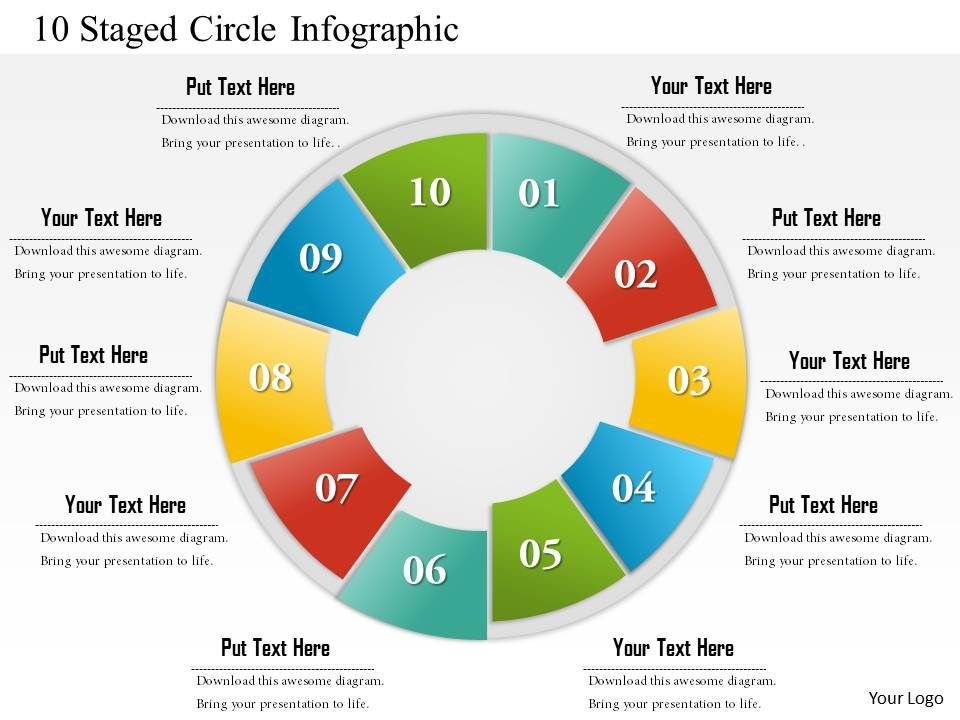 0714 Business Consulting 10 Staged Circle Infographic Powerpoint Slide Template on Life Stages