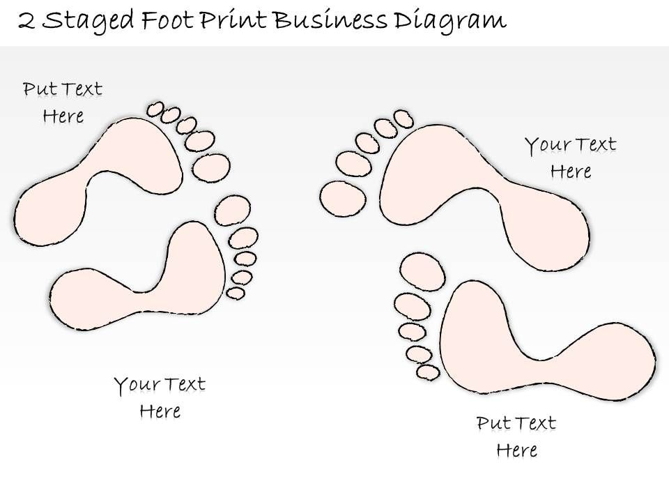 0714 Business Ppt Diagram 2 Staged Foot Print Business