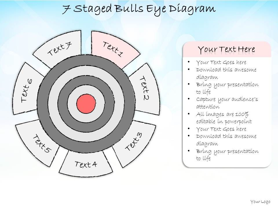 0714 business ppt diagram 7 staged bulls eye diagram powerpoint, Presentation templates