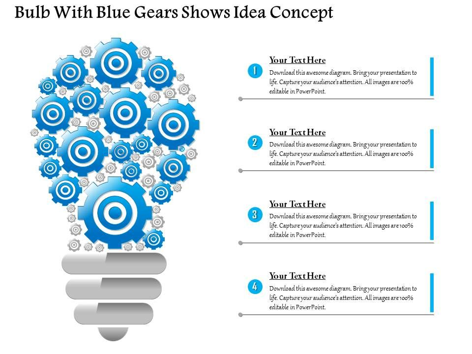 Business Consulting Bulb With Blue Gears Shows Idea Concept - Awesome outline for a presentation example concept