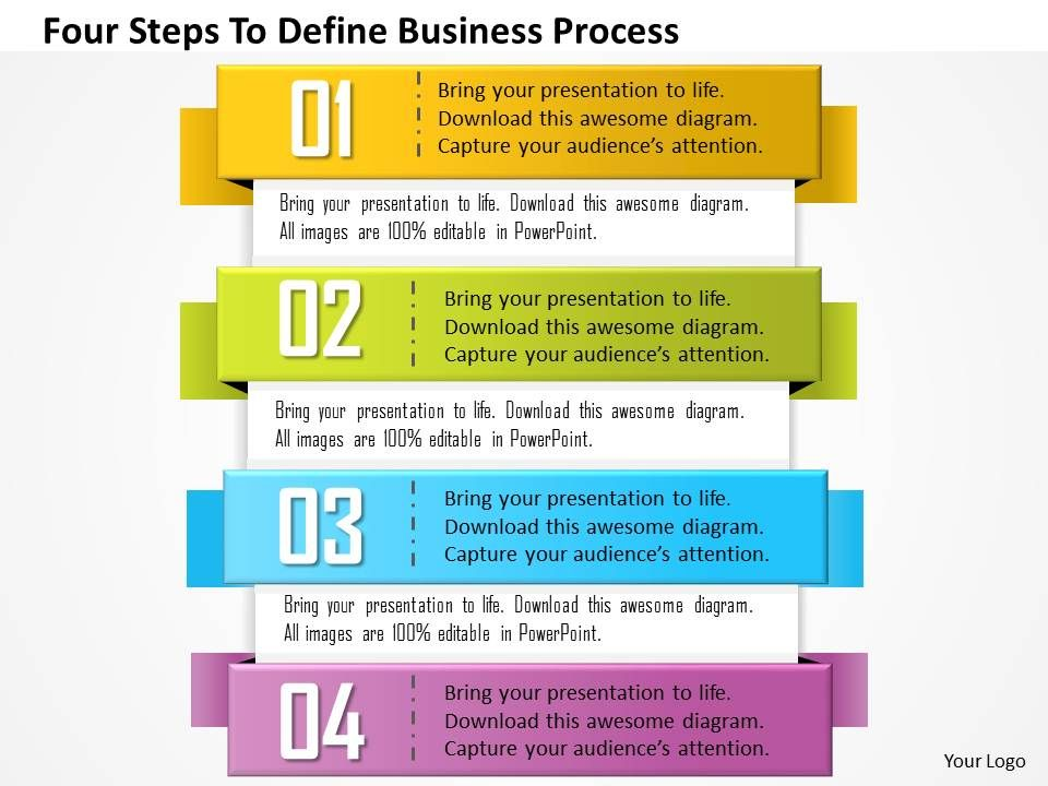 0814 business consulting diagram four steps to define business, Modern powerpoint