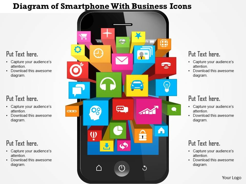 0814 Business Consulting Diagram Of Smartphone With Business Icons ...