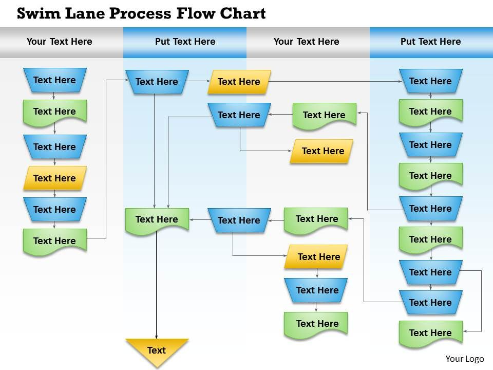 0814 business consulting diagram swim lane process flow chart powerpoint slide template