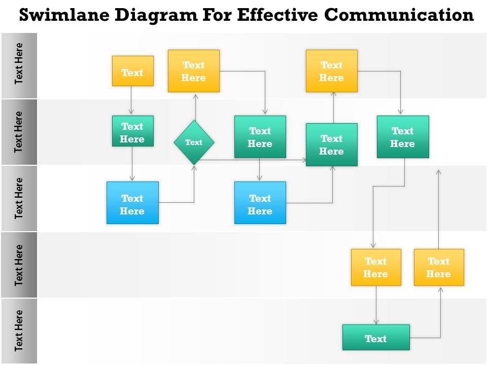business consulting diagram swim lane process flow chart, Powerpoint