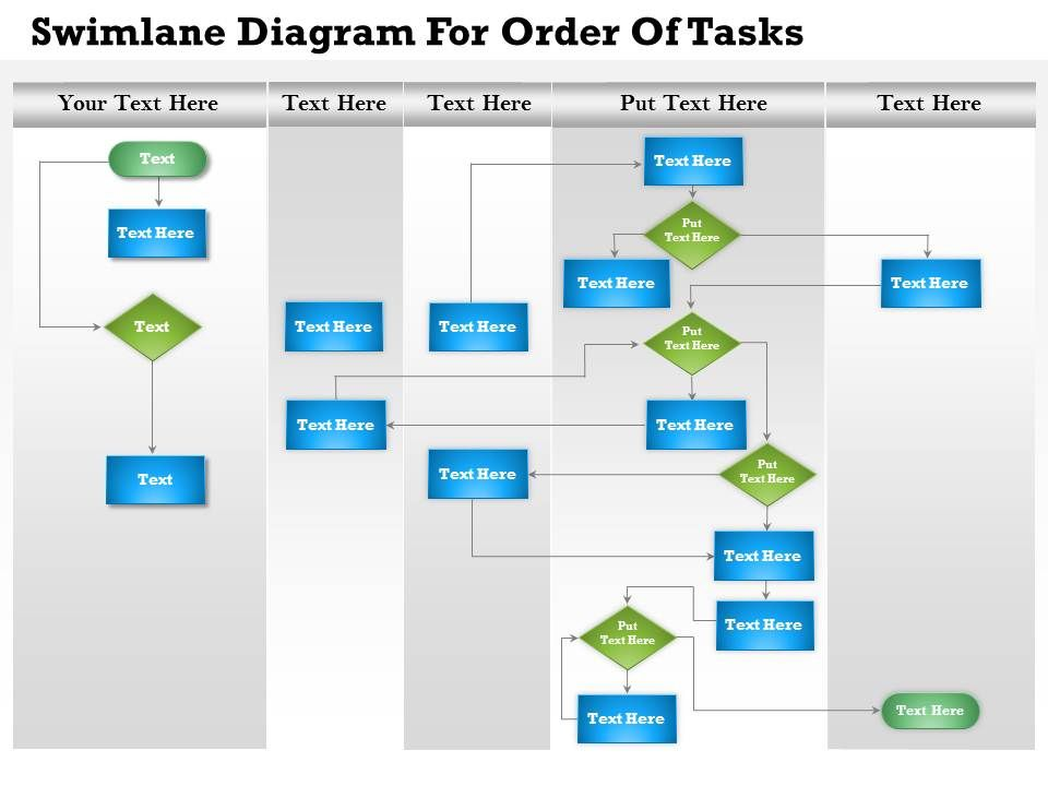 0814 business consulting diagram swimlane diagram for order of tasks powerpoint slide template. Black Bedroom Furniture Sets. Home Design Ideas