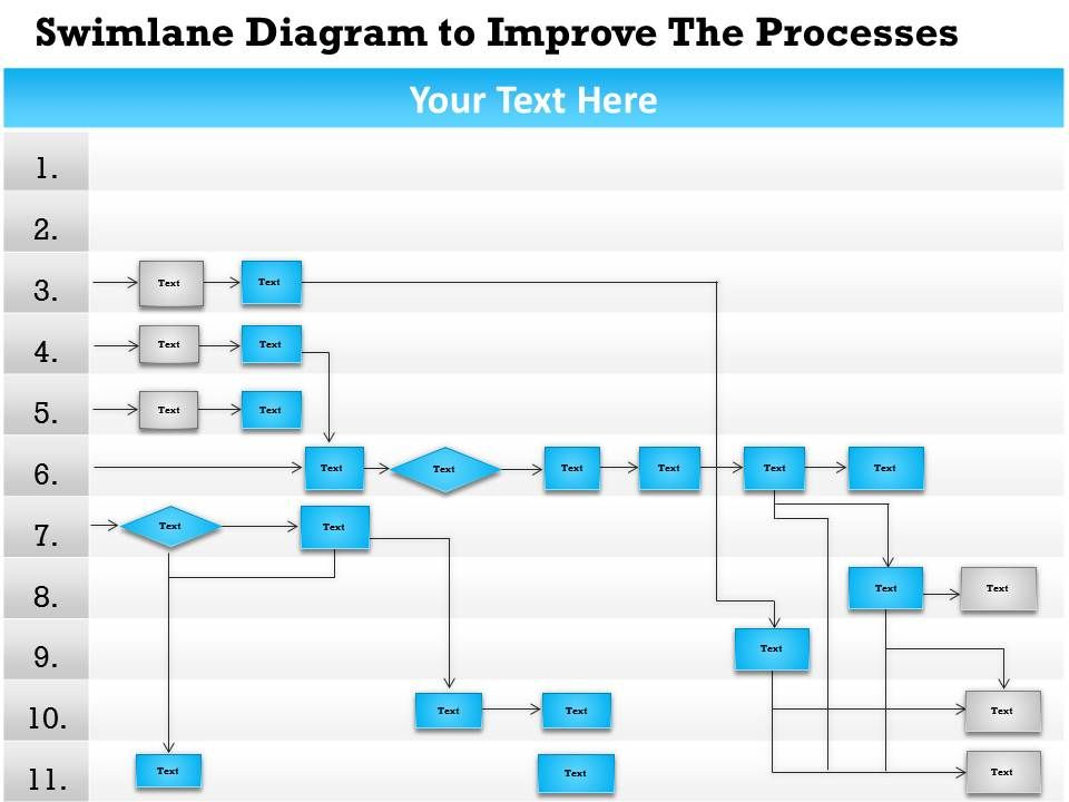 business consulting diagram swimlane activity process flow, Powerpoint
