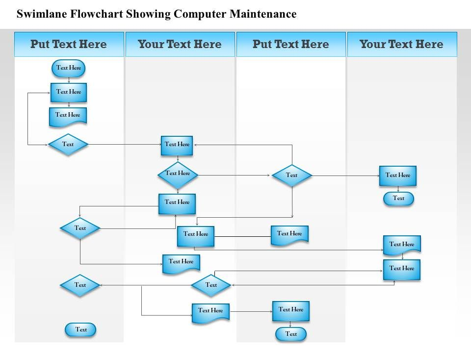 0814 business consulting diagram swimlane flowchart showing computer maintenance powerpoint. Black Bedroom Furniture Sets. Home Design Ideas