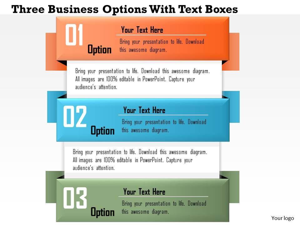 0814 business consulting diagram three business options with text 0814businessconsultingdiagramthreebusinessoptionswithtextboxespowerpointslidetemplateslide01 toneelgroepblik Choice Image
