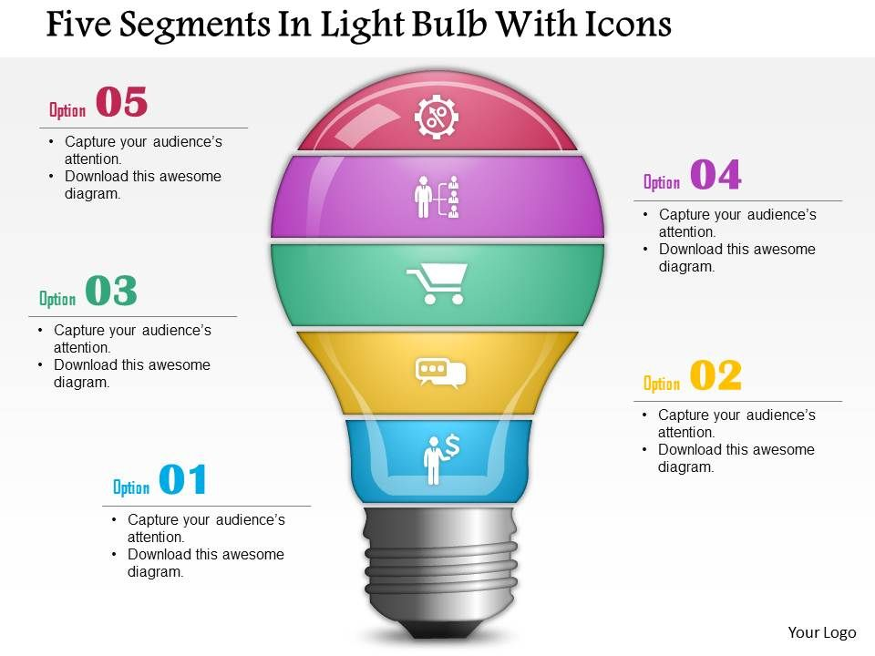 0814 business consulting five segments in light bulb with icons rh slideteam net PowerPoint Layout Iceberg Images for PowerPoint
