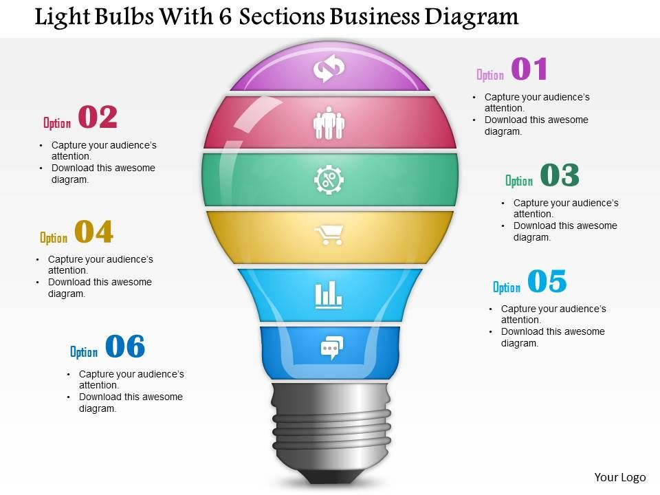 0814 business consulting light bulbs with 6 sections business rh slideteam net PowerPoint Eye Contact PowerPoint Layout