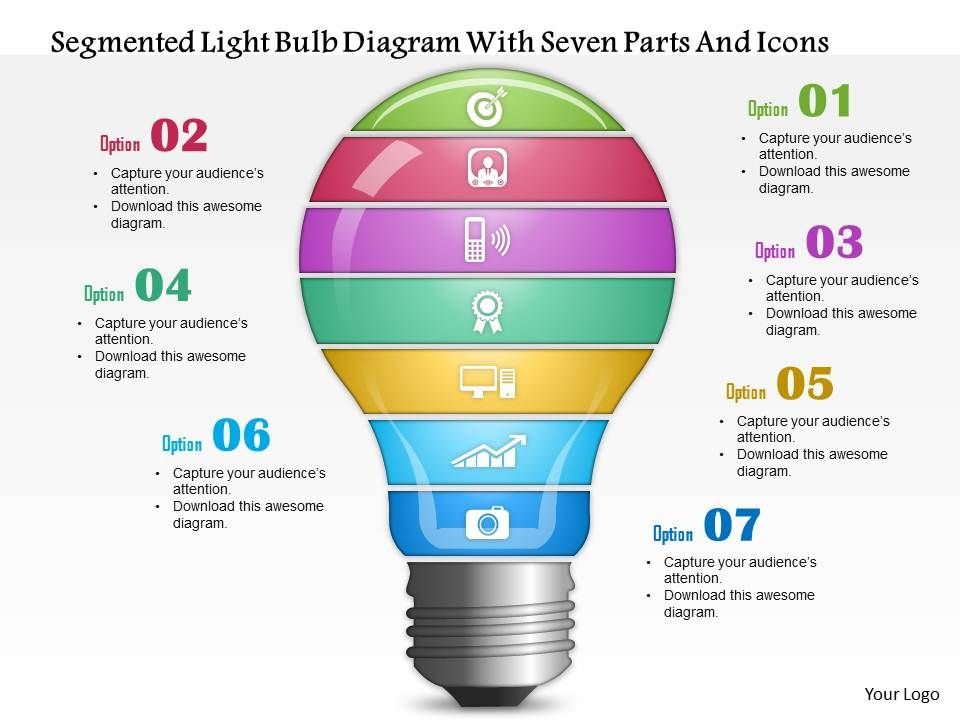 0814 Business Consulting Segmented Light Bulb Diagram With Seven ...