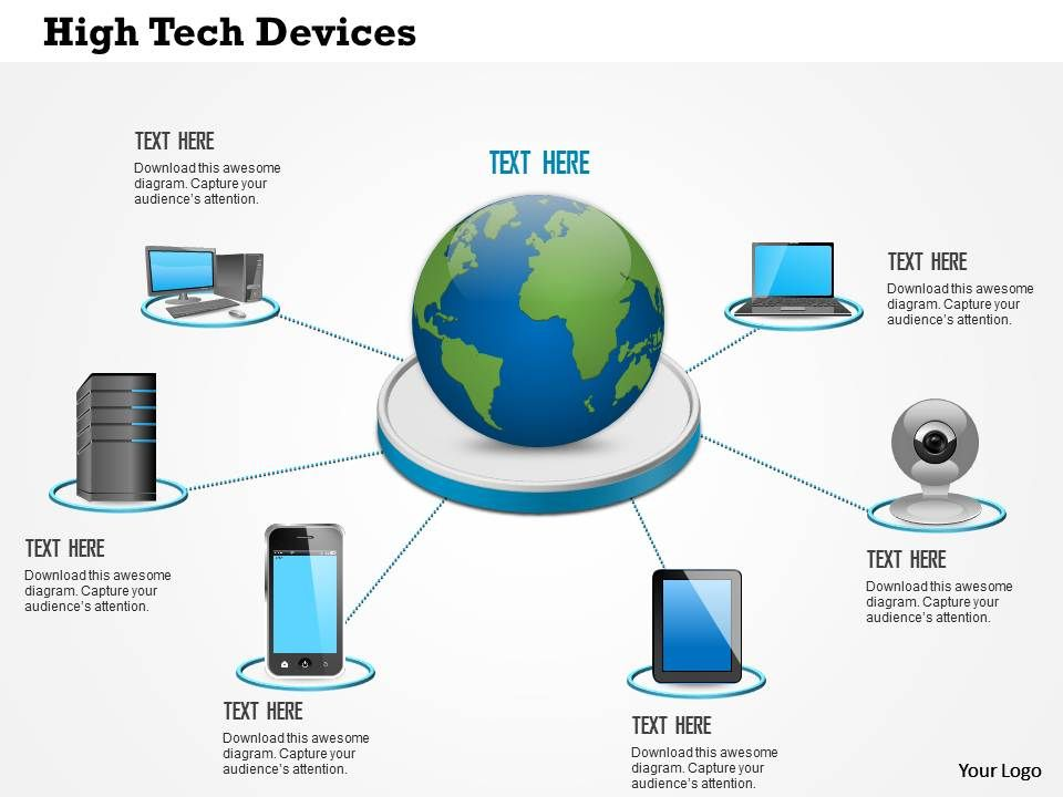 0814_high_tech_devices_laptop_tablet_phone_connected_to_centralized_data_center_with_globe_ppt_slides_Slide01