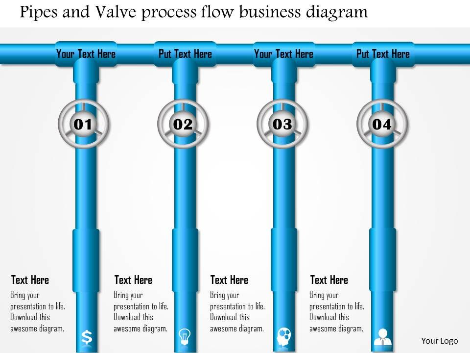 0814 pipes and valve process flow business diagram powerpoint