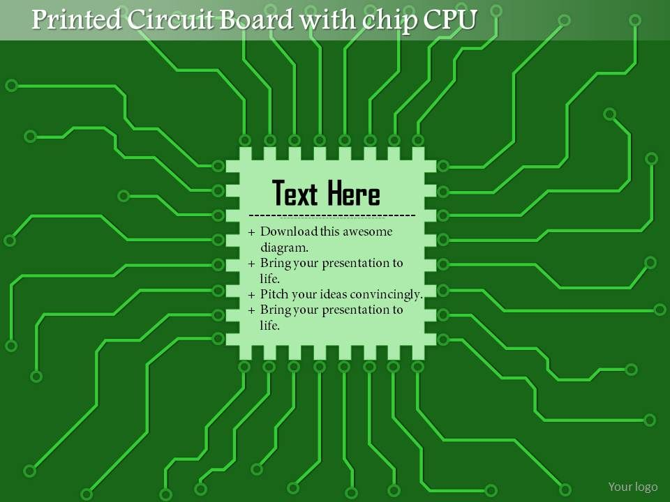 0814 Printed Circuit Board PCB With Chip CPU Microprocessor With ...