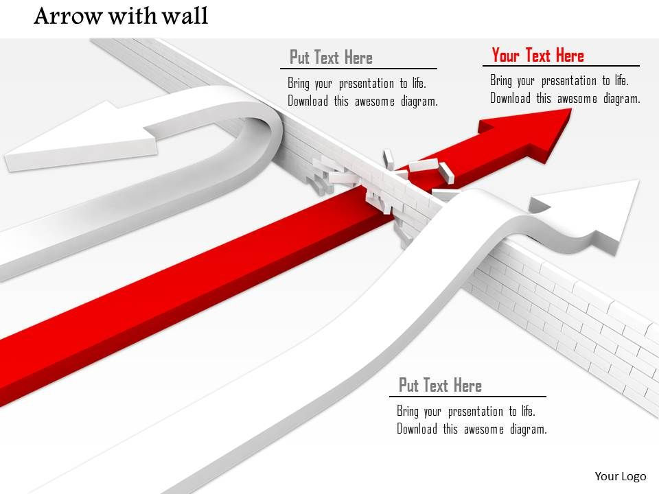 0814_red_and_white_arrows_trying_to_cross_wall_showing_concept_of_leadership_image_graphics_for_powerpoint_Slide01