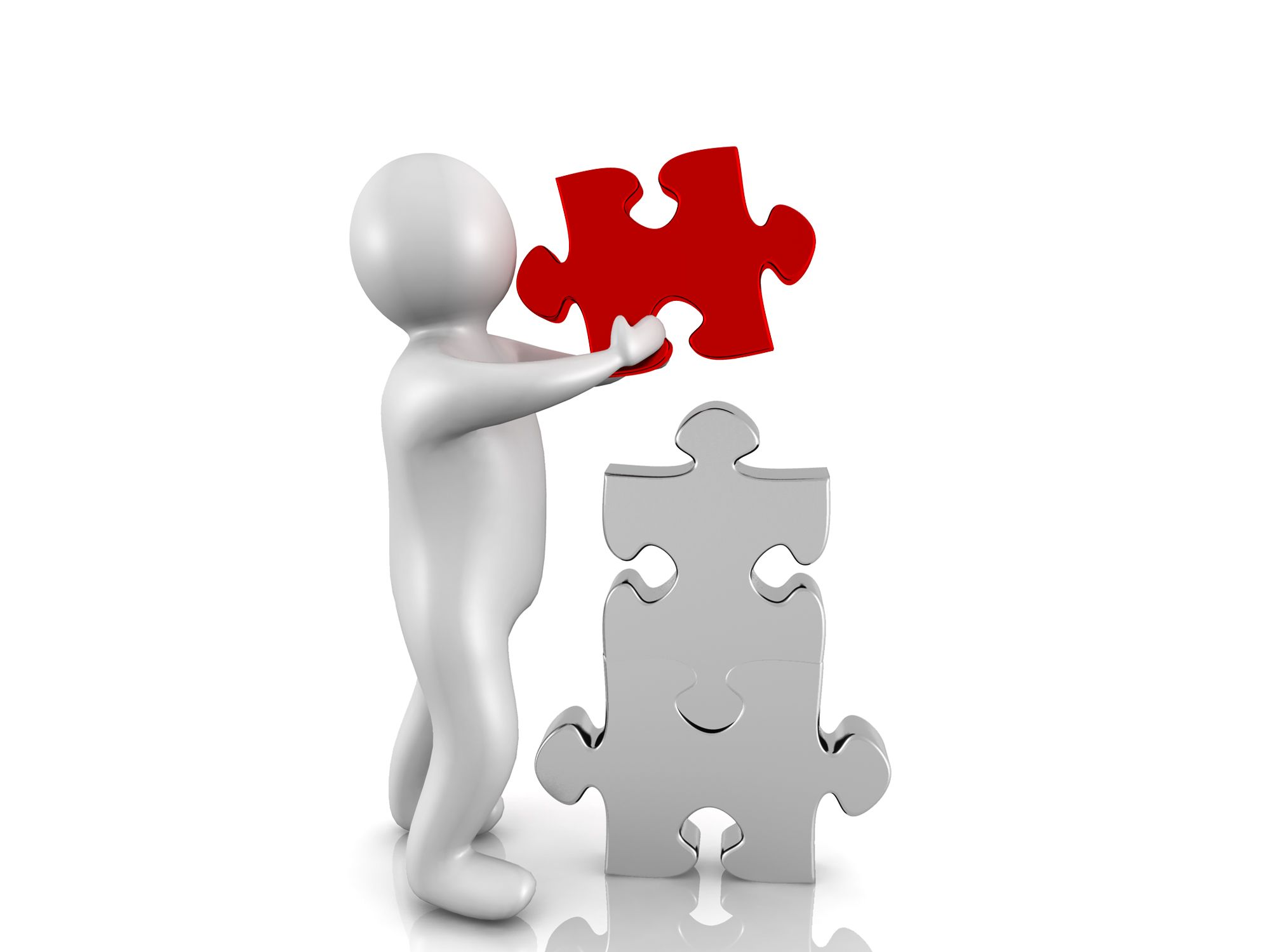 0914 3d Man And Puzzle Pieces Jigsaw Business Leader Image Stock Photo Slide01