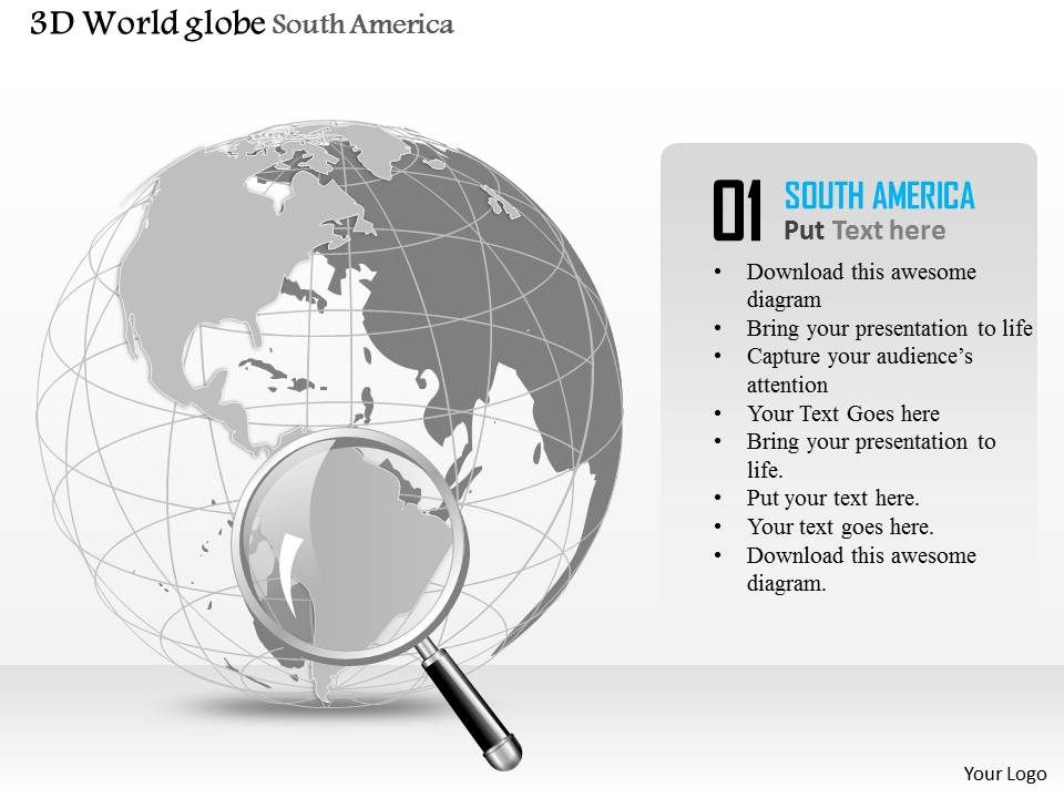 0914 business plan 3d globe with magnifying glass on south america
