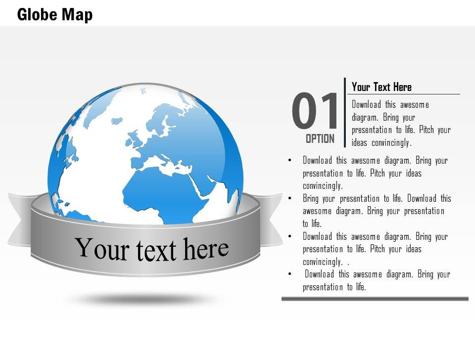 Business Plan D Globe With Text Ribbon Title PowerPoint - Awesome example of business plan presentation powerpoint ideas