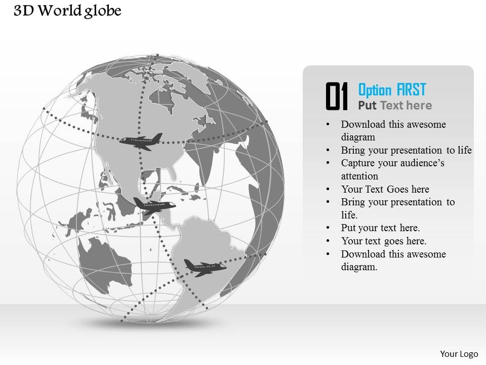0914 Business Plan 3d World Globe With Airways Travel Powerpoint