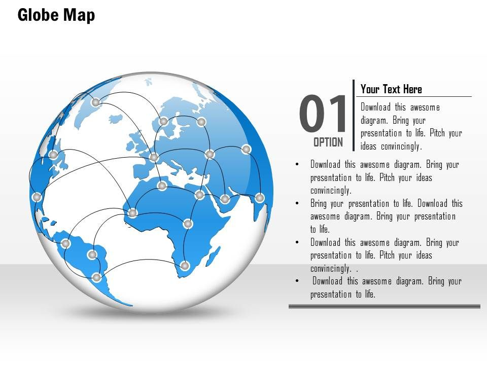 0914 Business Plan World Globe With Network Point Presentation Template Slide01