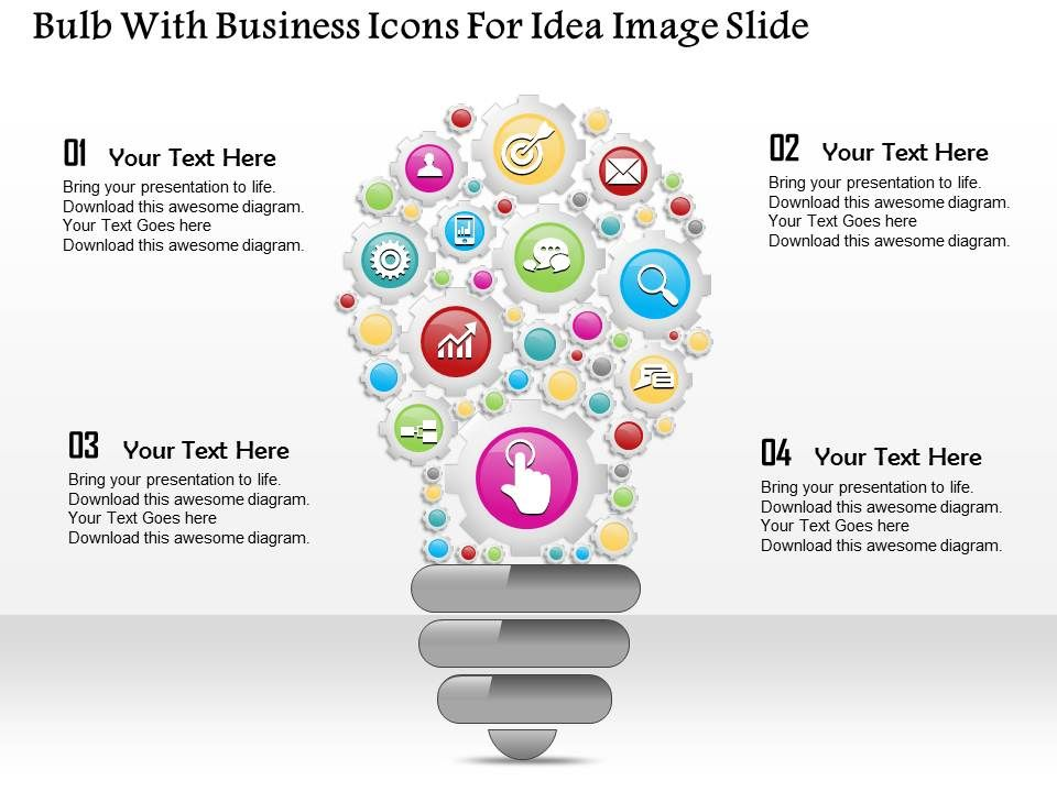 Business Plan Bulb With Business Icons For Idea Image Slide - Awesome example of business plan presentation powerpoint ideas