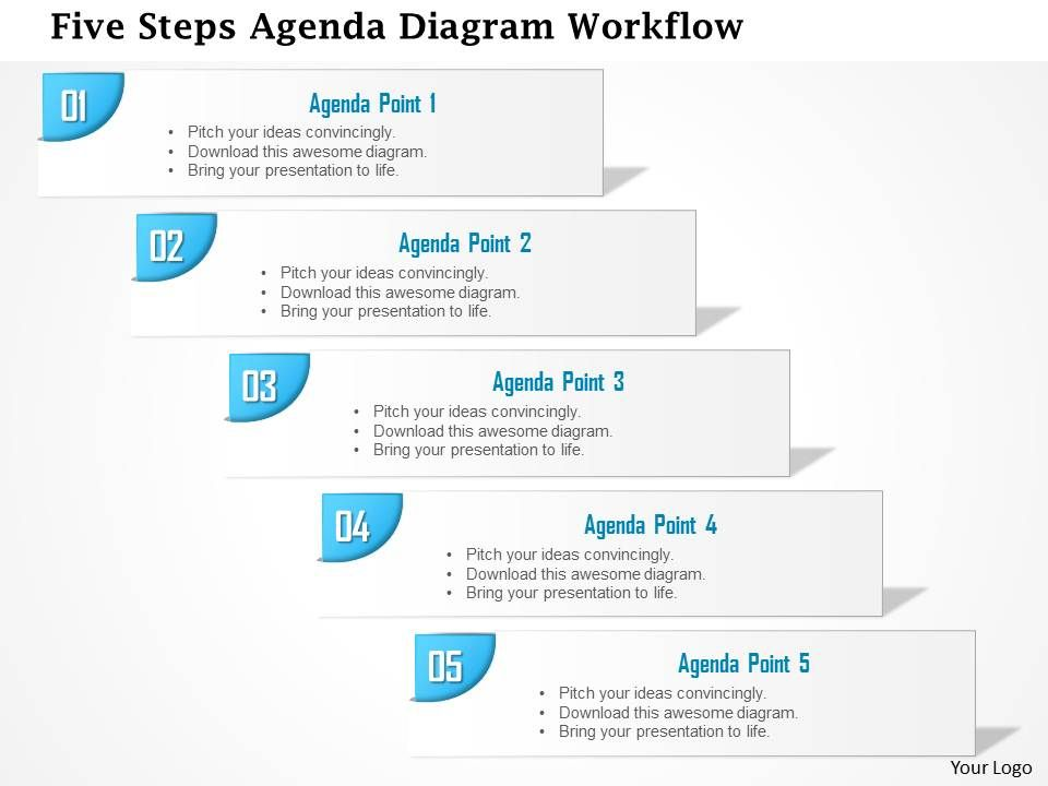 0914 Business Plan Five Steps Agenda Diagram Workflow Powerpoint