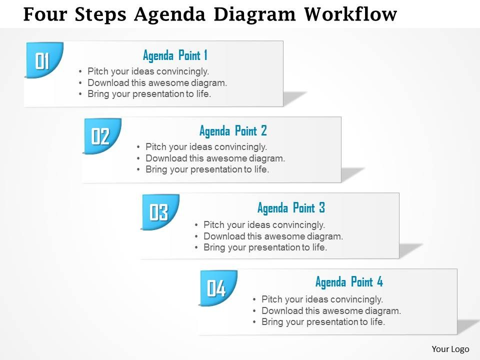 0914 business plan four steps agenda diagram workflow powerpoint