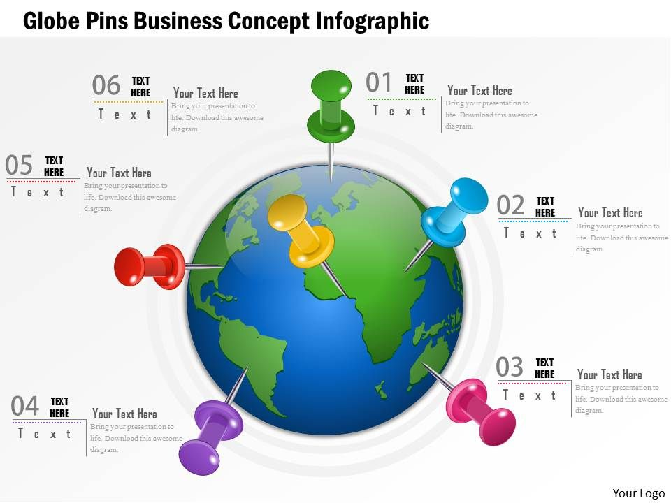 0914 Business Plan Globe Pins Business Concept Infographic Graphic ...