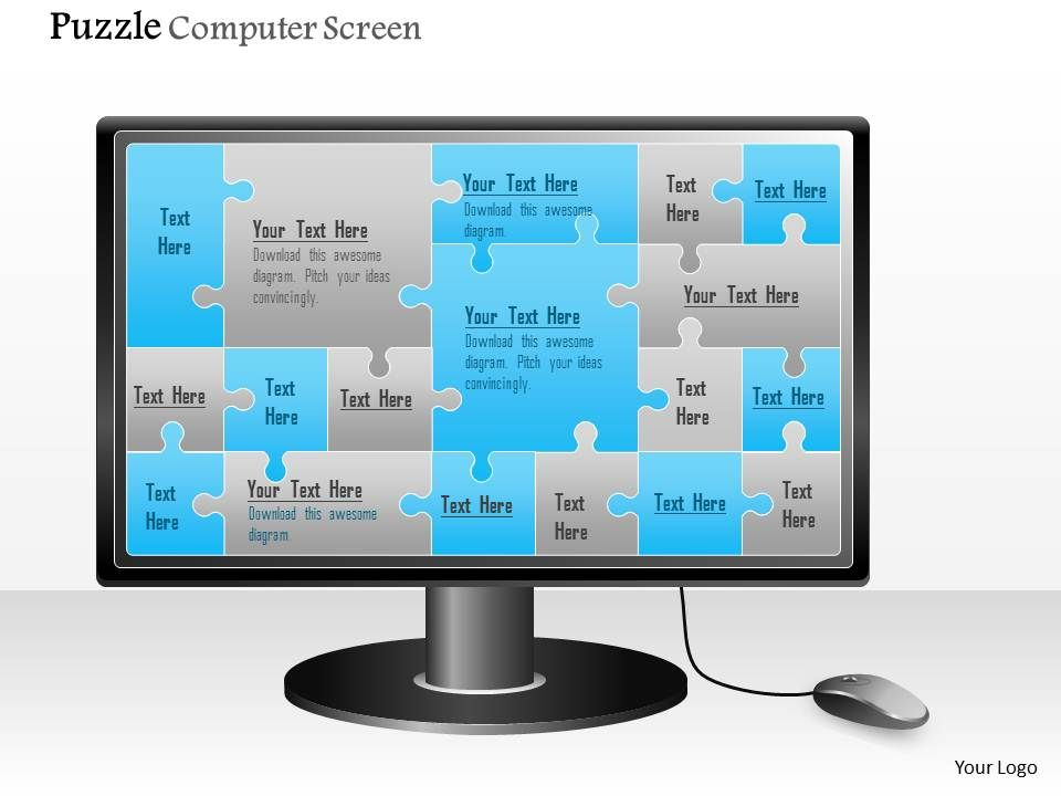 0914 business plan puzzle computer screen powerpoint presentation